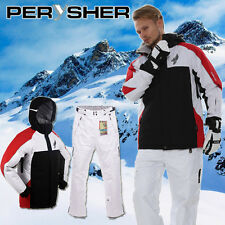 PERYSHER Performance Mens Snowboard / Ski Jacket & Pants Combo Suit | Red & Whit
