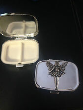Standing Fairy C14 English Pewter Emblem on a Rectangular Travel Metal Pill Box