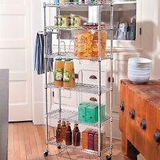Slim Metal Pantry Rack Rolling Kitchen Caddy Cart w/ 6 Adjustable Storage Shelf