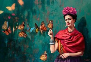 FRIDA KAHLO BUTTERFLY BEAUTIFUL 30X20 INCH CANVAS WALLART GIFT READY TO HANG!
