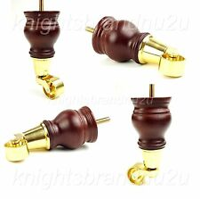 4x WOOD FURNITURE FEET LEGS WITH BRASS CASTORS - SOFAS, CHAIRS, SETTEES M8(8mm)