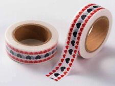 Ruban Masking Tape Coeurs Noir Rouge 15mmx10m MOD13 adhésif Scrapbooking Loisirs