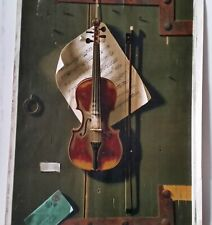Antique Litho, WILLIAM HARNETT, The Old Violin, 1887 Chromolithograph, 35x24 in.