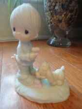 "Precious Moments ""Praise The Lord Anyhow"" E-1374/B. SIGNED 1978 Boy with dog"