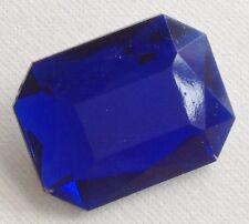 broche bijou vintage rectangle résine couleur bleu facette effet pierre 521