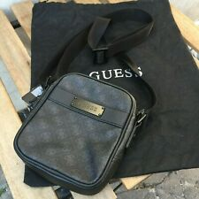 GUESS mens black logo print cross body messenger bag, small NEW with tag!
