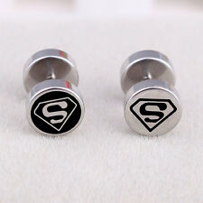 Hot Stainless Steel Dumbbell With SUPERMAN logo Design womens mens stud earrings