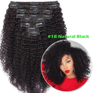 Yaki Kinky Straight Clip In Virgin Human Hair Extensions Thick Full Head Weft F