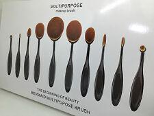 10pcs Multi-Purpose Cosmetic Makeup Brush Set Toothbrush Shape Korean Style