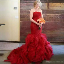 Red Stunning Strapless Organza Wedding Dress Bridal Gown Custom Made 2 4 6 8 10+