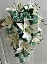 Teardrop Wedding Bouquet, Ivory lillies, Mint Green Roses & pearl sprays