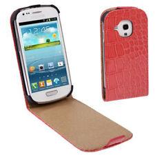 Flip Tasche Croco Look für Samsung i8190 Galaxy S3 Mini in hell rot Hülle Case