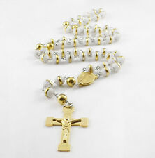 White Silicone Rosary Necklace Stainless Steel Gold Religous Beads Crucifix Mens