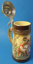 """Limited Edition Collectable German Lidded Beer Stein. Hand-painted """"Gathering"""""""
