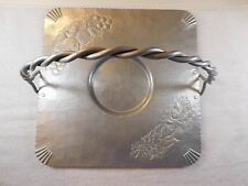 Elbee wedding tray hammered aluminum 1941 1x1 foot braided handle Usa