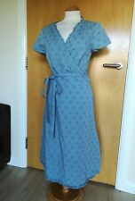 Ladies BODEN DRESS Size 18 LONG TALL True Wrap Blue Smart Casual