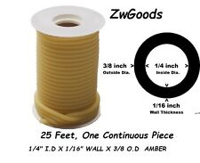 "25 CONTINUOUS FEET REEL 1/4 I.D x 1/16 wall x 3/8"" O.D LATEX TUBING AMBER RUBBER"