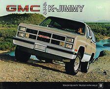 1984 GMC TRUCK K JIMMY Brochure / Catalog w/ Color Chart: K-1500, 4x4, 4WD,K1500