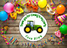 Green Tractor Digger Personalised Thank You Sticker Party Sweet Cone Birthday