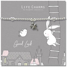 Life Charms Good Luck Rosey Rabbit Silver Plated Bracelet Free Gift Box