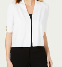 NWT JM Collection Women's LARGE Toggle Short Sleeve Crop Cardigan White