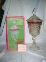 Vintage Indiana Glass Diamond Point Lidded Chalice/ Compote/ Candy Dish
