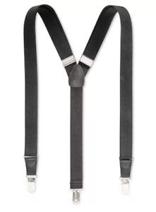 Club Room Men's Suspenders Black Stretch elastic Man Black Suspenders Club Room
