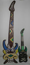 "2 Vintage Hand Carved Tiki Mask Guitars Wall Hangin Bar Decor 38"" & 23"" BIN SAVE"