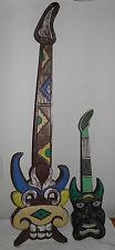 "2 Vintage Hand Carved Tiki Mask Guitars Wall Hangin Bar Decor 38"" & 23"" BIN SAVE"