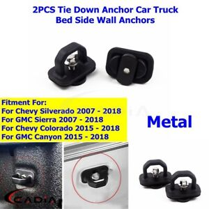 2PCS Black Metal Car Tie Down Anchor Truck Bed InSide Wall Anchors for GMC Chevy