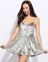 sexy abito velluto V-Neck Sleeveless Backless Velvet Solid Party Dress