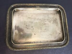 ANTIQUE COMMERCIAL REED & BARTON NORTH PLAZA SILVER SOLDERED tray heavy 12 W 2