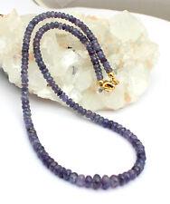 Collar de zafiro Cadena piedras preciosas Facetas Azul Hermoso ELEGANTE 46cm