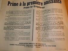 10 AFFICHE 1940 propagande NATALITE CAF occupation ALSACE mulhouse Geburtsprämie