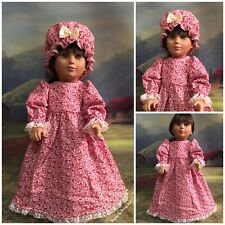 """18"""" Doll Flannel Dress Nightgown & Mob Cap American Girl Kirsten Red Thistle"""