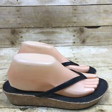 FitFlop Womens Size 8 Linny Toe-Thong Sandals Leather Black Cork Wedge Shoes