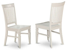 Set of 2 Weston dinette kitchen dining chairs w/ plain wood seat in off-white