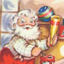White Wyckoff Santa Claus Workshop Christmas Greeting Card 1949 Used Die Cut