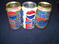 3 Diet Pepsi Cola Soda Can~Uh Huh!~Wis-Pak Inc~Wisconsin~Pepsico Inc~New York