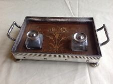 Antique silver plated and classical marquetry inlaid pen tray with two inkwells