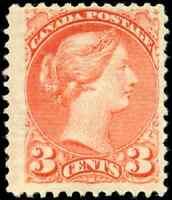 Canada #41a mint F OG H 1888 Queen Victoria 3c rose carmine Small Queen JUMBO