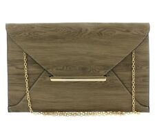 Fashion Envelope Clutch Bag Wooden Cork Flavor with Shoulder Chain