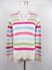 TOMMY HILFIGER Women's Cotton Cable Knit Stripe Casual Hooded Jumper sz M BI93