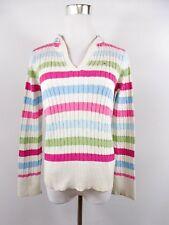 TOMMY HILFIGER Women's Cotton Cable Knit Stripe Casual Hooded Jumper sz M BI93