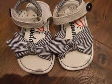girls size 5 next white and blue strippy sandels baby Summer Bow