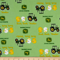 John Deere Nursery Duck Tractor Green 100% cotton Fabric by the yard