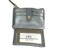 Neiman Marcus Womens Saffiano Zip Top Card Case Pewter NWT