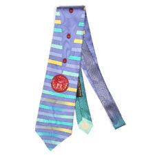Gianni VERSACE Wild 90s Stripe Medusa Head Logo Blue Purple Silk Neck Tie