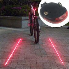 5 LED 2 Laser Beam MTB Mountain Bicycle Bike Cycle Rear Tail Warning Lamp Light