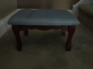 Blue and White Cushioned Foot Stool with Mahogany Accents